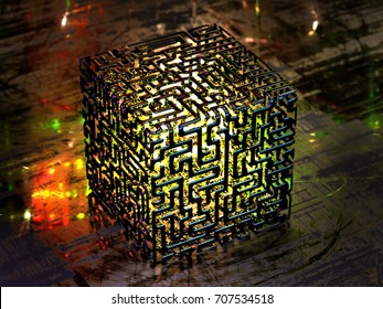 Concept of an abstract quantum computer. 3d illustration