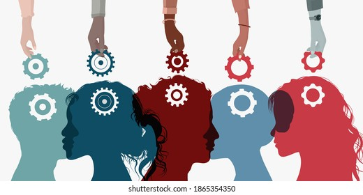 Concept acquire assistance. Learning course. Building business. Coach hands holding a gear and putting it in people s brains. Career. Development. Education