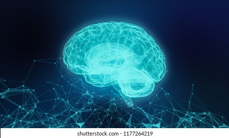 Concept of an Active Human Brain on a Dark Background.Blurry abstract  3d Rendering Abstract Background blue  Network concept . Future backgroundTechnology concept.