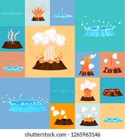 Concept of active volcano and blue geyser in action. Splash of hot lava, flowing magma, discarded steam under pressure. Powerful aqua fountain from hot spring. raster illustration in cartoon style.