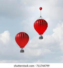 Concept of advantage and competitive edge as two hot air balloons racing to the top but a leader with a small balloon attached giving the winning competitor a boost with 3D illustration elements.