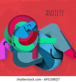 Concept of anxiety. Illustration. An illustration that expresses the concept of anxiety in an abstract way through the human figure blocked and immobilized by his own anxiety.