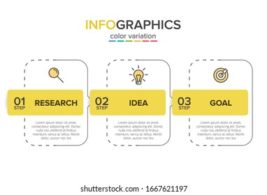 Concept of arrow business model with 3 successive steps. Three colorful design elements. Timeline design for brochure, presentation. Infographic design layout.