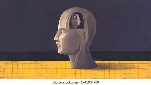 Concept art of brain thinking psychology success and mind , Surreal painting, conceptual 3d illustration, portrait artwork