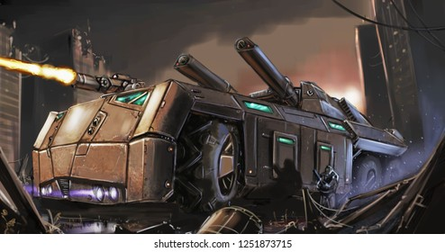 Concept art digital painting or illustration of movie or computer game style sci-fi or science fiction post-apocalyptic armored vehicle or tank fighting in destroyed city ruins.