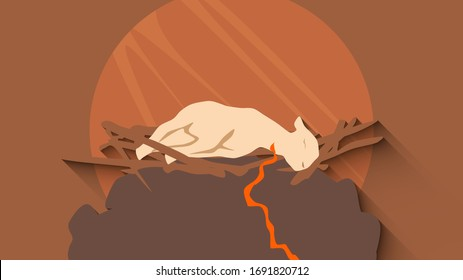 Concept art illustration of Lamb sacrificed on the altar representing the crucifixion of Jesus. Religious imagery.