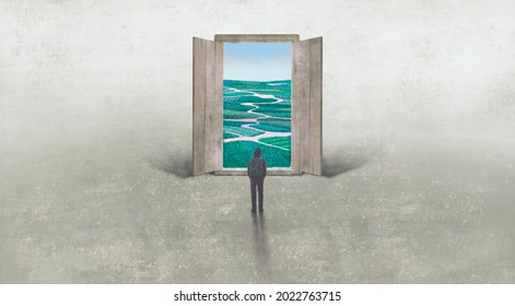 Concept art of nature freedom dream success and hope  , conceptual idea artwork, surreal painting man with happiness of landscape nature in a door ,  3d illustration