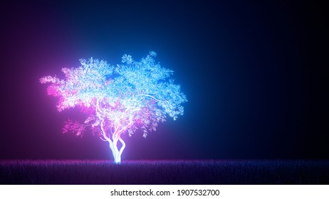 Concept art on the theme of mysticism, fantasy and pollution of nature and radiation waste. Glowing neon pink and blue tree lights on a dark background. 3d illustration