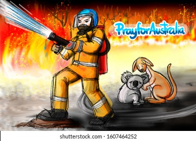 Concept art - Pray for Australia. Drawn and paint about Australian bushfire in 2019. Firefighter fight blaze and protect Koala with Kangaroo as hero. Fire storm burning surround them.