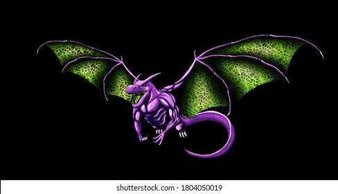 Concept art for a purple dragon