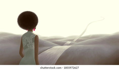 Concept art of  success hope dream  loneliness and ambition , surreal landscape painting, African black woman with floating road , imagination artwork, conceptual illustration, lifestyle and fashion