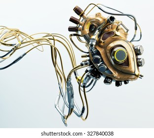 Concept of artificial wooden robotic heart with metal parts and many wires connected / Wooden robotic heart