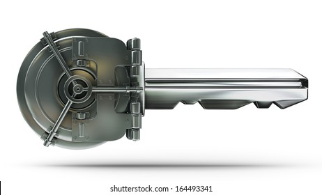 concept. bank vault door with key isolated on white background High resolution 3d