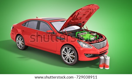 Concept Battery Capacity Electric Car Batteries Stock