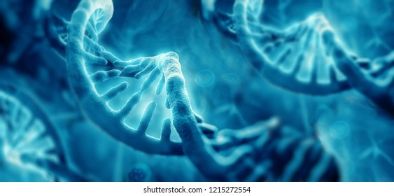 Concept of biochemistry with dna molecule, 3D illustration