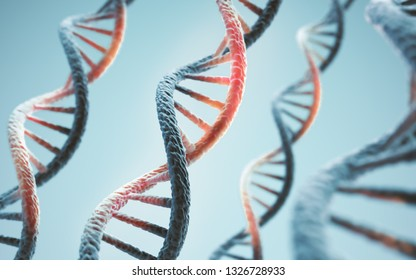 Concept of biochemistry with dna molecule, Abstract structure for Science or medical background, 3d illustration.
