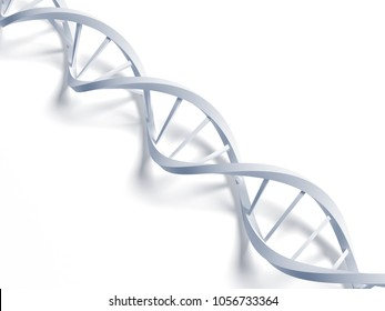 Concept of biochemistry with dna molecule isolated in white back