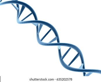Concept of biochemistry with dna molecule isolated in white background, 3d rendering