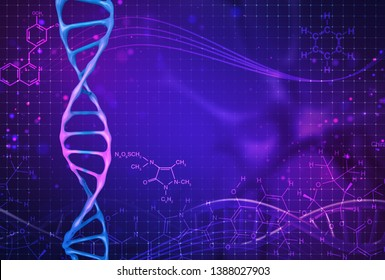 Concept of biochemistry with dna molecule on color background. Science concept background. 3 d render.
