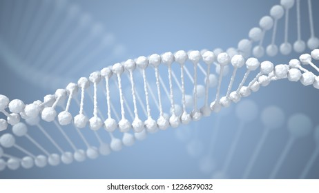 Concept of biochemistry with dna molecule.3D render.