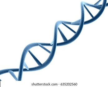 Concept of biochemistry with dna Structure isolated in white background, Medical science background. 3d rendering
