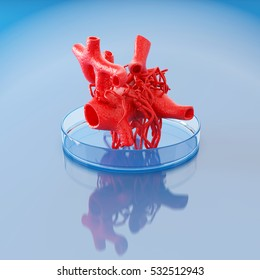 Concept of bioprinting of circulatory system. Part of the blood vessel ready for transplantation to the patient. 3D illustration.