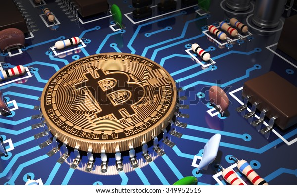 Concept Of Bitcoin Like CPU On Motherboard. 3D Scene.