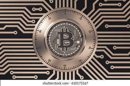 Concept Of Bitcoin Like A Electronic Security Lock On Printed Circuit Board. 3D Illustration.