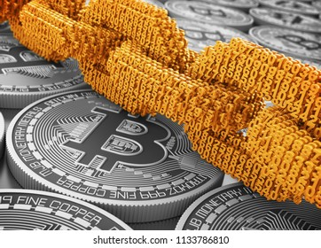 Concept Of Blockchain. Gold Digital Chain Of Interconnected 3D Numbers On Silver Bitcoins. 3D Illustration.