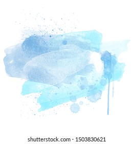 Concept Blue Paint Artistic Watercolor Backround isolated on white, empty
