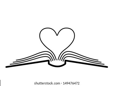 The concept of the book pages and heart.