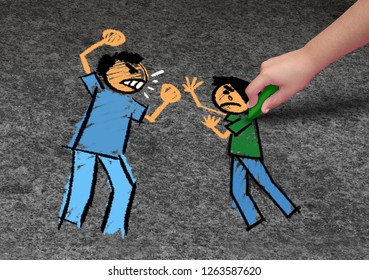 Concept of bullying and a school bully threat as a childhood fear psychology as an afraid child drawing an abuser intimidating a vulnerable victim in a 3D illustration style.