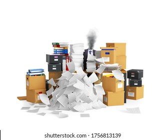 concept of burnout at work, stress. The table is littered with documents, archives and cardboard boxes. 3d illustration