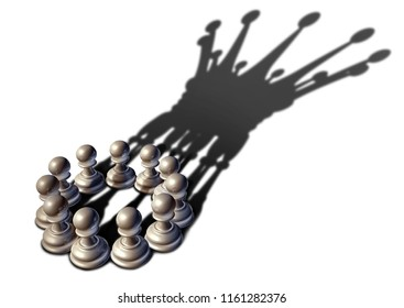 Concept of business leadership as a group of chess pawn pieces gathering together as a team to lead and form a king piece as a 3D illustration.