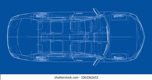 Concept business sedan car. 3d illustration. Wire-frame style