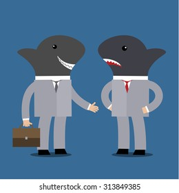 Concept of business shark. Flat vector illustration
