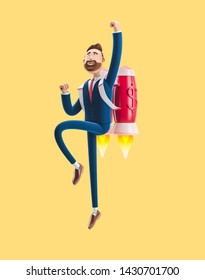 Concept of  business startup, launching of a new company. Businessman Billy flying on a rocket Jetpack up. 3d illustration on yellow background.