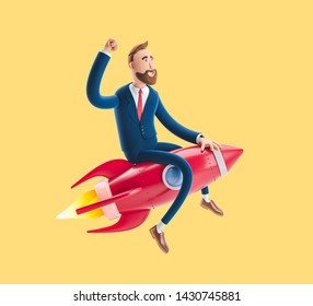 Concept of  business startup, launching of a new company. Businessman Billy flying on a rocket up. 3d illustration on yellow background.