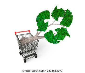 Concept of buy or supply technologies for developing environmental protection and circular economy, tree with green leaves recycling symbol in shopping cart, isolated on white, 3D illustration.