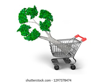 Concept of buy or supply technologies for environmental protection and circular economy, tree with green leaves recycling symbol in shopping cart, isolated on white background, 3D illustration.