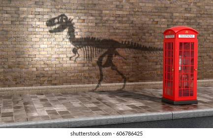 The concept calls. Irrelevance of telephone booths in the present time. Teleflna booth which casts a shadow skeleton dinosaurs. 3D illustration.