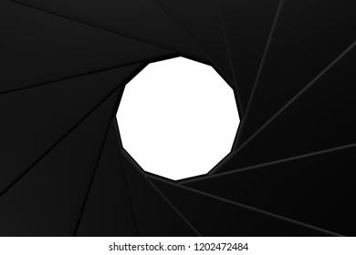 Concept: Camera Aperture, isolated on white background. 3D rendering.