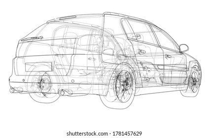 Concept car. 3D illustration. Wire-frame or outline style