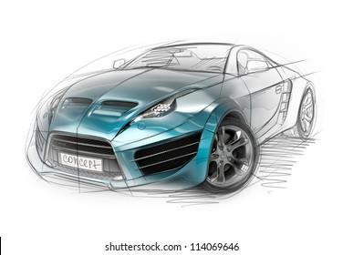 Concept car sketch. Original non-branded car design.