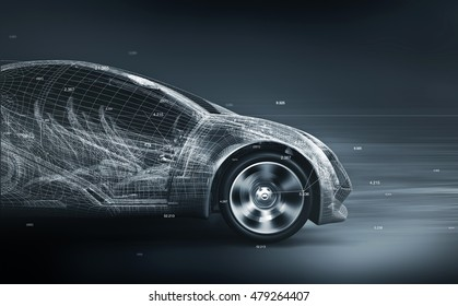 concept car wireframe; 3d illustration