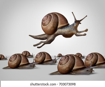 Concept of change and changing to better compete as a group of slow racing snails with one individual fast leader snail with running limbs as a business idea of innovation in a 3D illustration style.