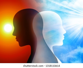 Concept change of mood. Emotions. Bipolar disorder mind mental. Split personality. Silhouette heads of man