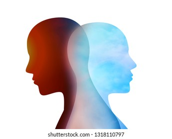 Concept change of mood. Emotions. Bipolar disorder mind mental. Split personality. Dual personality. Isolated head silhouette of man