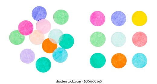 The concept of chaos and order. Chaotic colorful confetti lying around with confetti in rows