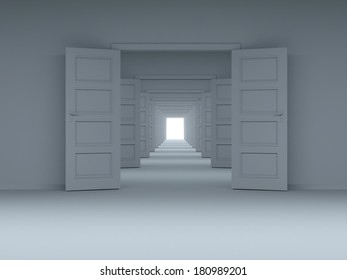 concept of choice, and new opportunities, innovation, achieve the goal of climbing to new heights. Door in the wall.